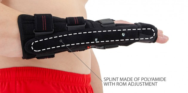 splint made of polyamide with ROM adjustment