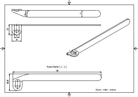 Przykład dokumentacji technicznej detalu do odwiedzenia kciuka w ortezie nadgarstka