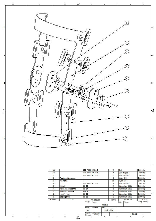 Dokumentacja złożeniowa do ortezy szkieletowej stawu kolanowego
